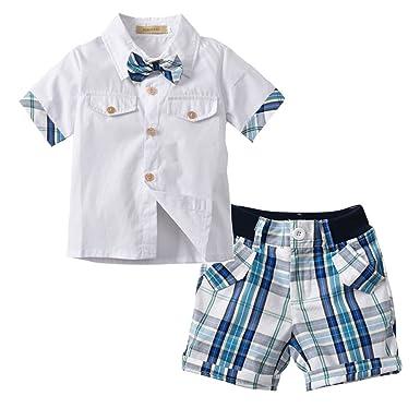 40731b3f0c16 Amazon.com  Kids Little Boys Gentleman Bowtie Vest Shirt Plaid Pants ...