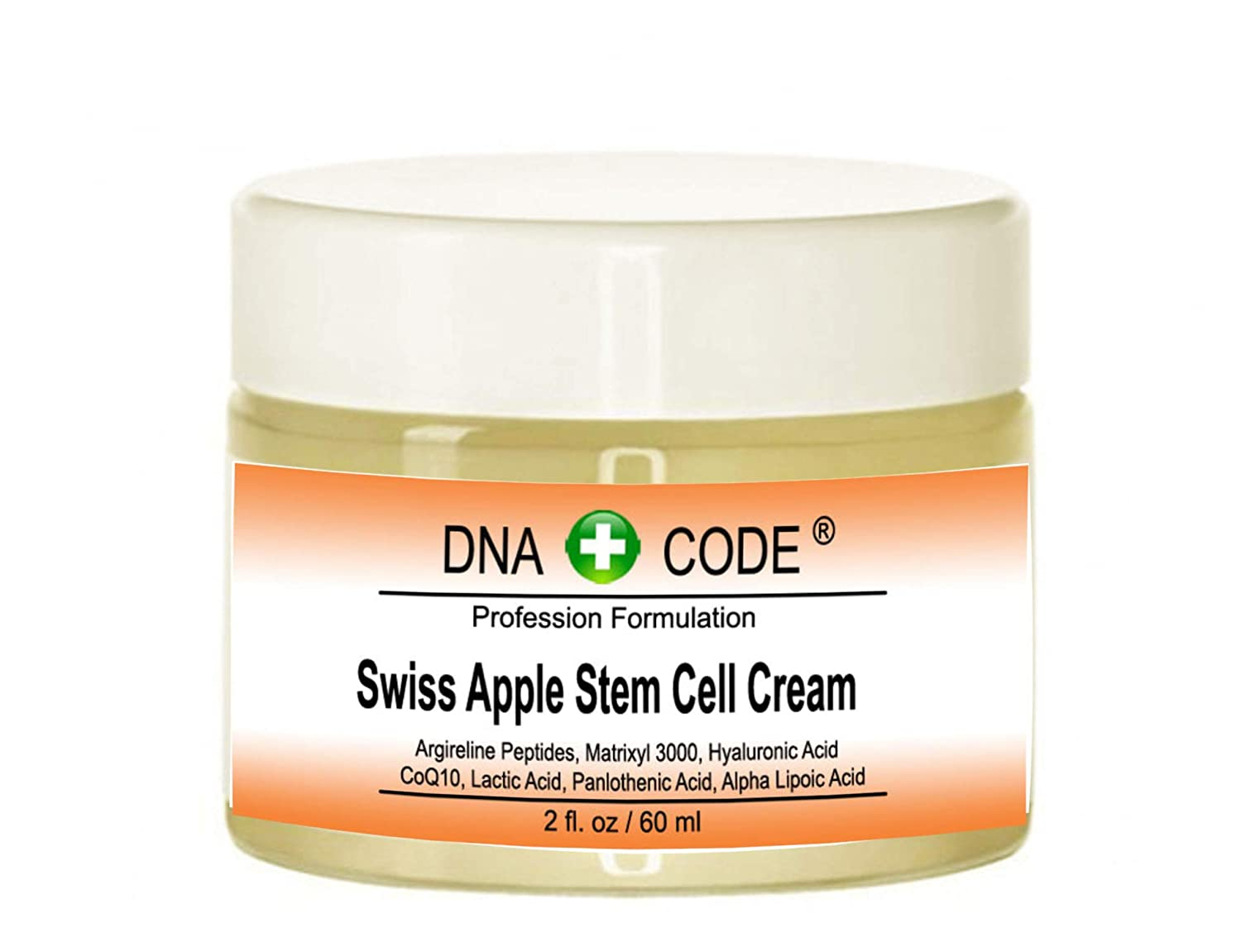 DNA Code- Swiss Apple Stem Cell Cream w/Argireline, Matrixyl 3000, Hyaluronic Acid, CoQ10. Big 2 OZ or 4 OZ