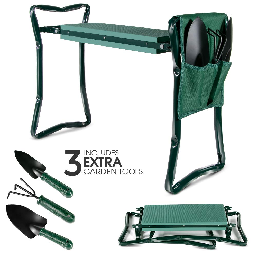Upgraded Garden Kneeler Seat Garden Stools Portable Stool with 4 Extra Free Tools EVA Foam Pad Outdoor Foldable Sturdy Gardening Tools for Gardeners by Topmart