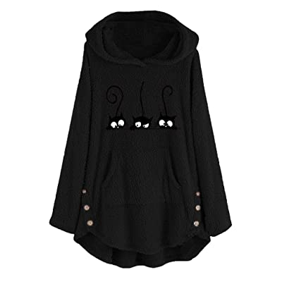 Sttech1 2020 Womens Winter Lapel Cat Printed Hooded Sweatshirt Faux Shearling Shaggy Warm Asymmetric Hem Wrap Pullovers: Clothing