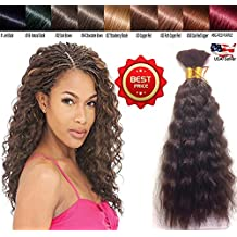 Hot selling Wet N Wavy Bulk hair, Top Quality Synthetic Fibers, Bulk Hair for Micro Braiding or Crochet Braiding, Super Bulk Style 2 Packs (4 Bundles) Deal, Length 18 Inch Color Dark Brown #2