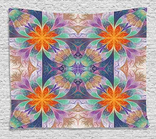 Kaleidoscope Glass Tile (3D Tapestry Fractal Decor by Ambesonne, Kaleidoscope Style Digital Print Mosaic Tile Art with 3D Effects, Wall Hanging for Bedroom Living Room Dorm, 60WX40L Inches, With Free 3D Glasses, Multicolor)