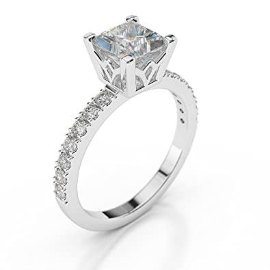 d4e45f7411 Unique Engagement Ring 1.65CT made with 14ct White Gold Set with a D/VVS1  Princess Cut Main Stone: Amazon.co.uk: Jewellery