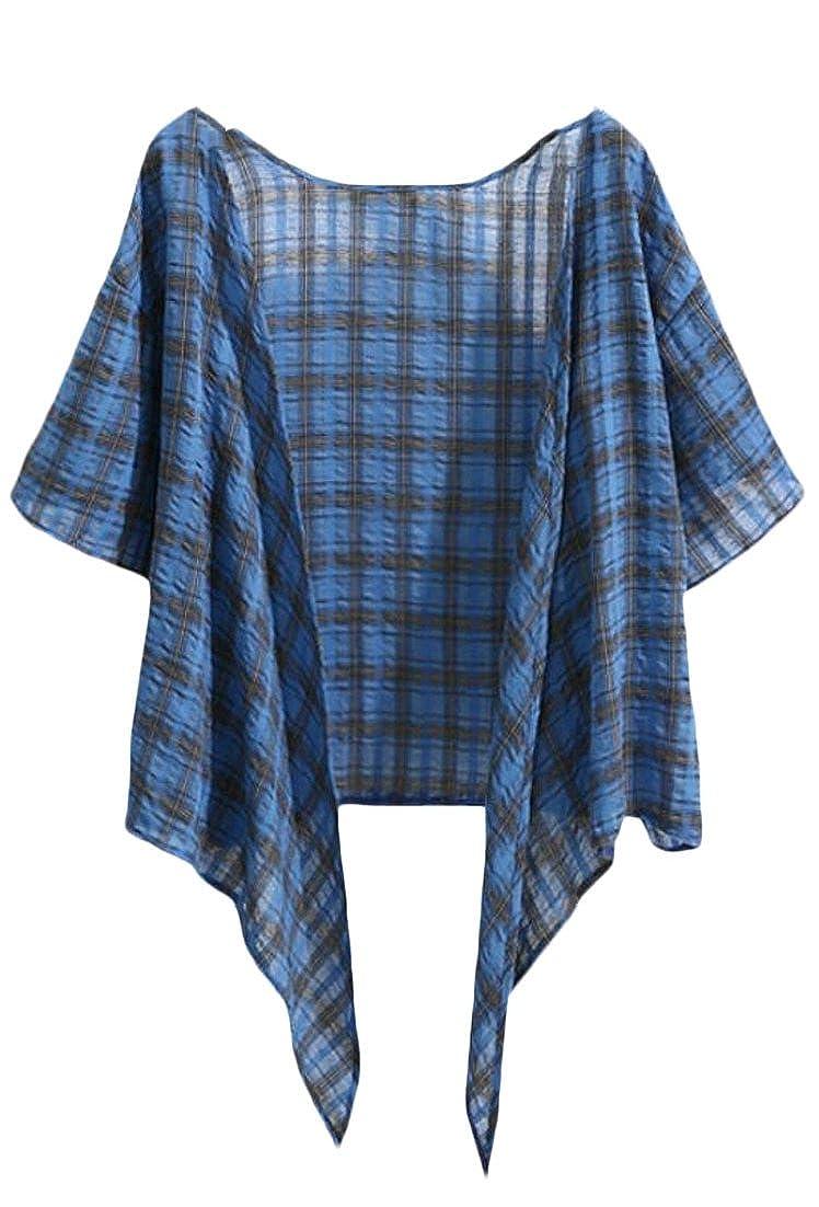 ainr Women Summer Plaid V Neck Short Sleeve Linen Front Tie Bolero Shrug