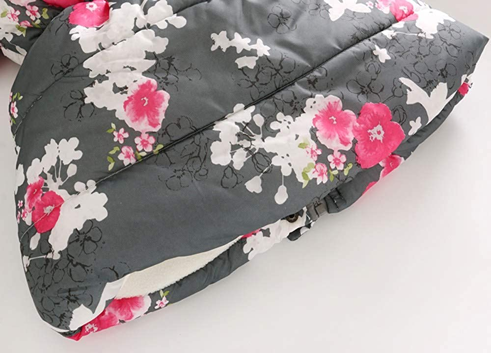 Lifestyler Fashion Girls Winter Floral Warm Thick Jacket Casual Hooded Windproof Zipper Coat