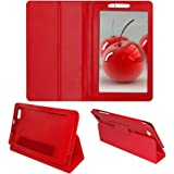 Acm Executive Leather Flip Case For Micromax Canvas Tabby P469 Tablet Front & Back Flap Cover Stand Holder Red