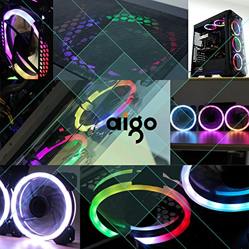Aigo Aurora DR12 3IN1 Kit Case Fan 3-Pack RGB LED 120mm High Performance High Airflow Adjustable colorful PC CPU Computer Case Cooling Cooler with Controller (DR12 3IN1) by Aigo (Image #3)