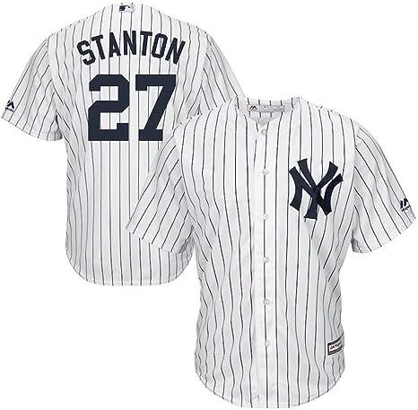 Camiseta de béisbol New York Yankees #27 Stanton Team Sportswear para Hombres, Mujeres, niños, jóvenes, Men-XL/48, New York Yankees White: Amazon.es: Deportes y aire libre