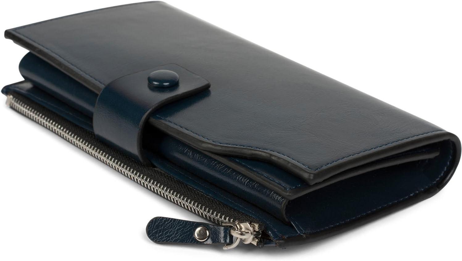 portefeuille couleur:Bleu fonc/é femmes 02040100 styleBREAKER Porte-monnaie brillant avec bouton-pression et fermeture /à glissi/ère s/épar/ée