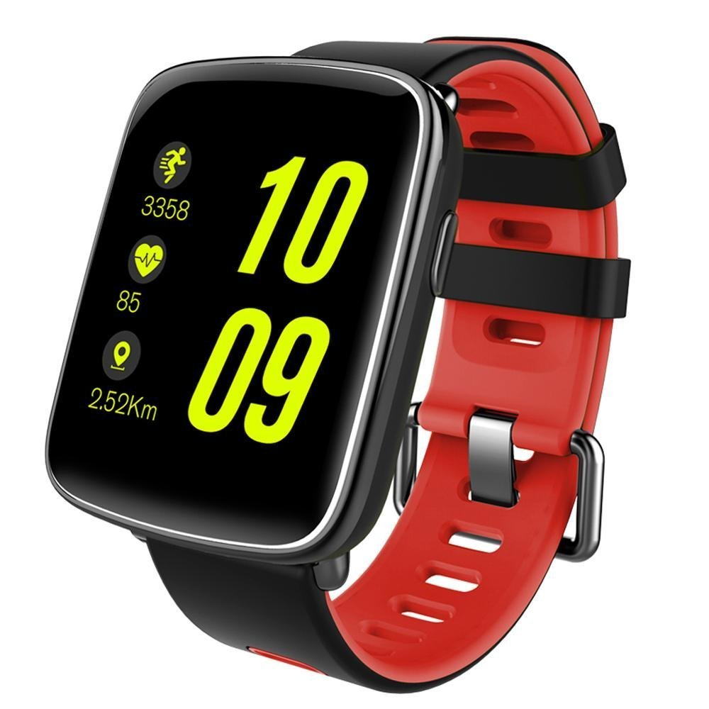 Fitness Tracker, IP68 Swimproof Touch Screen Smart Watch Wristband Heart Rate Monitor Sleep Monitor Pedometer Calorie Counter Bluetooth Activity Tracker For Android And IOS ( Color : Red )