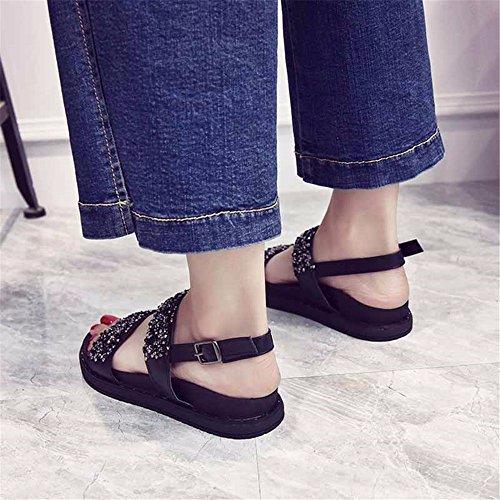 36 Shoes de Playa Confortable EU Toe Fondo 37 Antideslizante Ocio YMFIE Sandalias UE Señoras Diamante Toe Verano Plano Moda Exterior 61zUFq