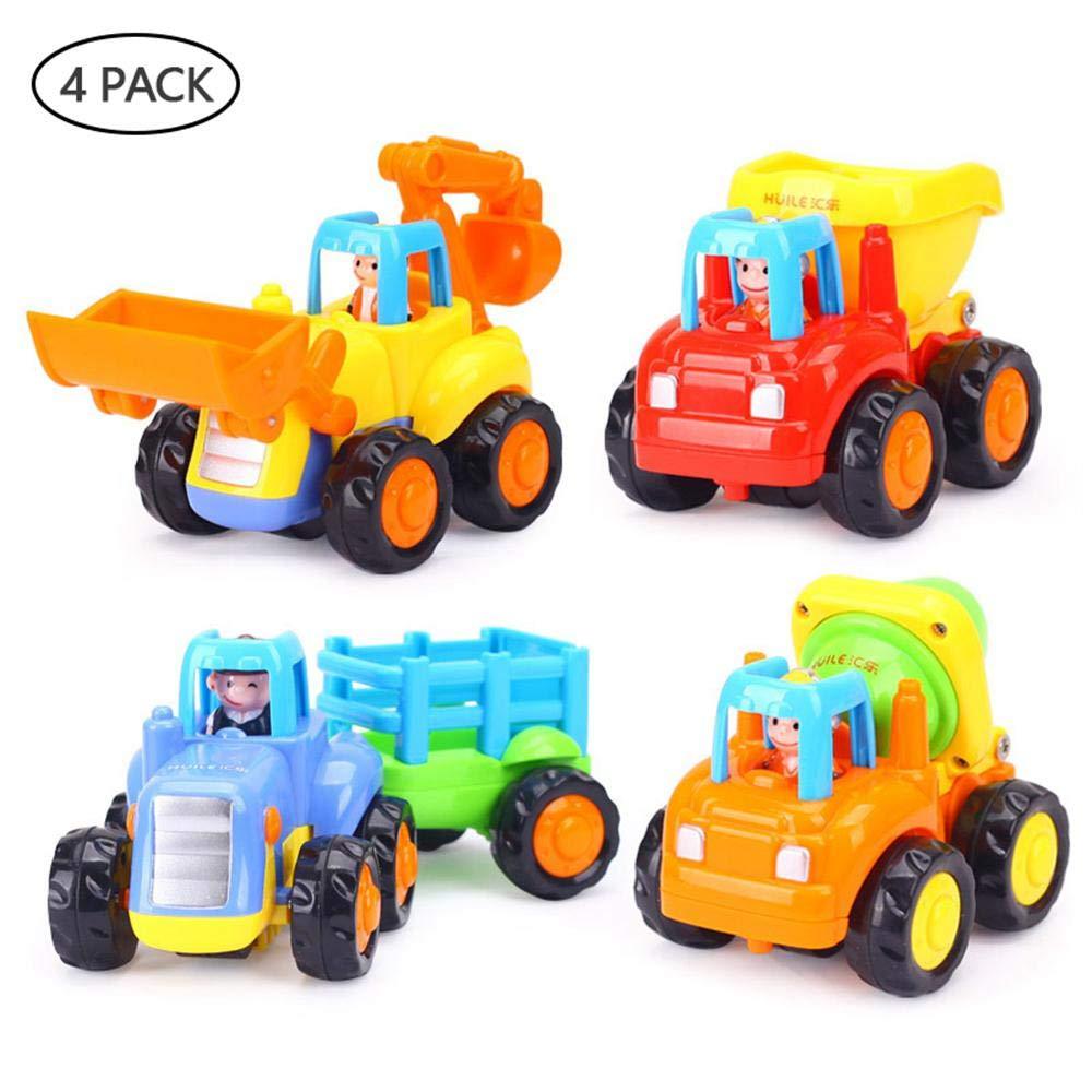 Pull Back Vehicles, Womdee Mini Truck Toy Kit Set Construction Vehicles Pull Back Toy Cars Bulldoze Excavator Dump Truck Model Kit for Children Toddlers Kids Engineering Diecast Car Toys (4 Pcs)