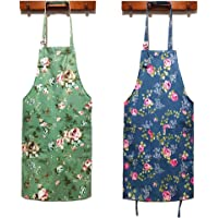 HOMKIN Women Kitchen Apron-2 Pack, Cotton Canvas Flower Apron, Floral Pattern Apron with Pockets for Women Chef Apron…