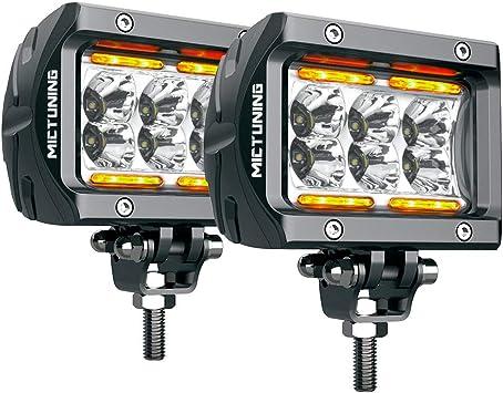 LED Pods MICTUNING Unlimited-GO K1 2Pcs 4 Inch 18W Off Road Spot LED Light Bar 1620lm White light