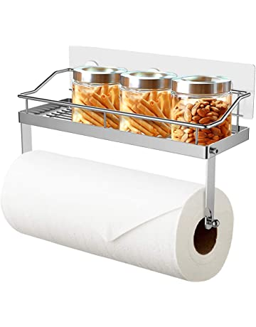 Oriware Adhesivo Portarrollos de Cocina con Estante Soportes de pared Especiero Organizador SUS304 Acero Inoxidable -