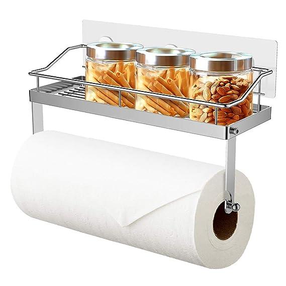 Oriware Adhesivo Portarrollos de Cocina con Estante Soportes de pared Especiero Organizador SUS304 Acero Inoxidable - Sin Perforar: Amazon.es: Hogar