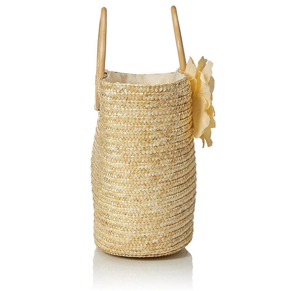 TOOGOO Femmes Sac a main en paille Sac fourre-tout tisse avec fleurs de la palge dete Messenger Panier Sac dachat