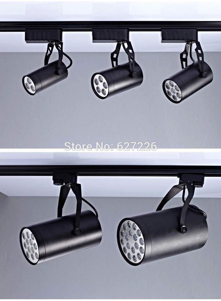 Laliva 110V 230V tier rail track spotlights led spotlights thick aluminum rail track lights 1M 2-wire track 20PCS/Lot - (Color: Black)