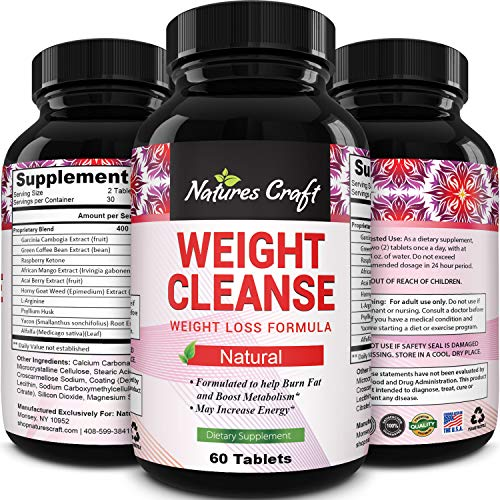 Natural Garcinia Cambogia Weight Loss HCA - Women and Men Pure Green Coffee Bean appetite suppressant Control Supplements - Detox Cleanse Supplement Natures Craft (Best Way To Use Garcinia Cambogia For Weight Loss)