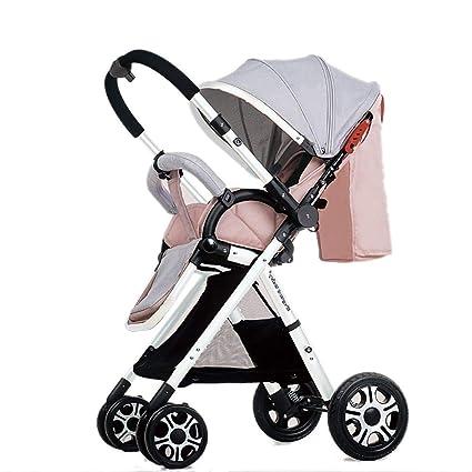 NAUY @ Cochecito de beb/é Ligero Portable High Landscape Puede Sentarse y acostarse Plegable Simple Handle Reversible Suspension Neonatal Buggy Baby Trolley Sillas de Paseo Color : Khaki