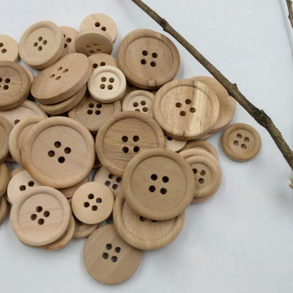 Alivier 50Pcs Bot/ón de Madera mezclada Color Natural Redondo 4 Hoyos Costura Scrapbooking DIY