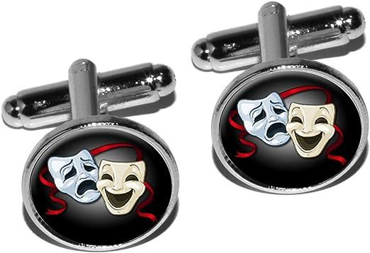 Drama Masks Cufflinks Vintage 60s Comedy Tragedy Cuff Links Unisex