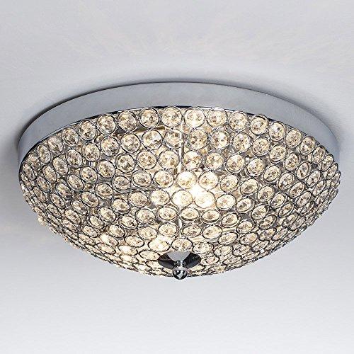 """SOTTAE Elegant 2 Lights Bowl Shaped Mondern Crystal Shade Chrome Finish Bedroom Living Room Hallway Kids Room Crystal Chandelier, Ceiling Light In11.8"""""""
