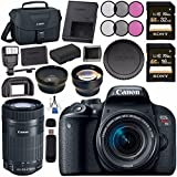Canon EOS Rebel T7i DSLR Camera with 18-55mm Lens 1894C002 + Sony 16GB SDHC Card + Sony 32GB SDHC Card + LPE-17 Lithium Ion Battery + Flash + Canon Bag + Card Reader + Canon EF-S 55-250mm LensBundle
