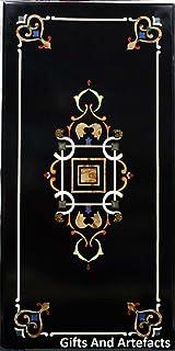 Gifts And Artefacts 121,9x 61cm Nero Marmo Tavolo da Pranzo Patio intarsio Unico Design, Legno