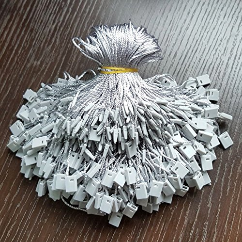 1000pcs Hang Tag Polyester String Snap Lock Pin Loop Fastener Hook Ties Easy and Fast to Attach, 7 Inch Long 0.4x0.3x0.08 Inch Block (Grey)
