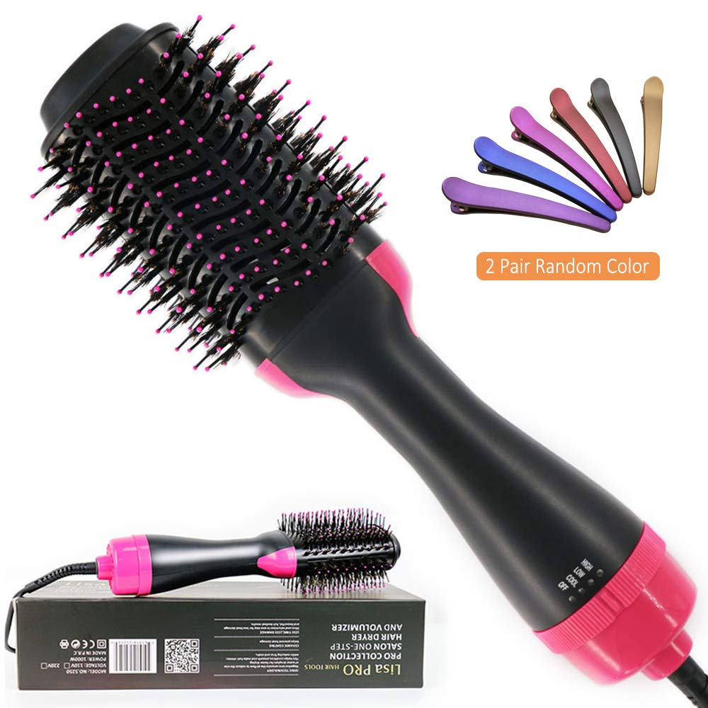 Hot Air Brush, Vlikeze One Step Hair Dryer Curly Hair Comb 3-in-1 Negative Iron Hot Air Combing Curly Straight Dual-use Hair Dryer Styling Comb Reduce Frizz and Static with 2pair Random Hair Clips