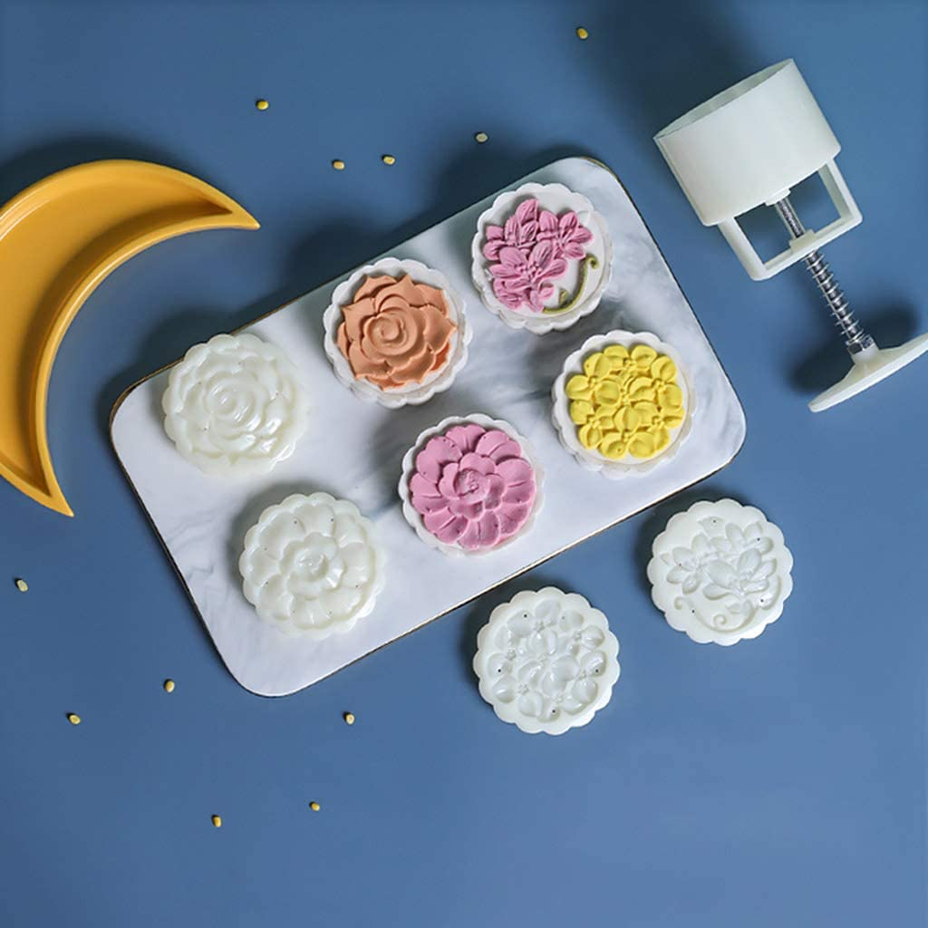 Yajom Mooncake Mold 125g Hand Pressure Mould Cookie Stamps for Baking Pastry Desserts