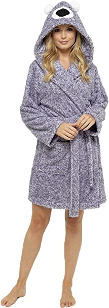 LADIES SOFT /& COSY HOODED WINTER FLEECE DRESSING GOWN ROBE PLAIN ANIMAL NOVELTY