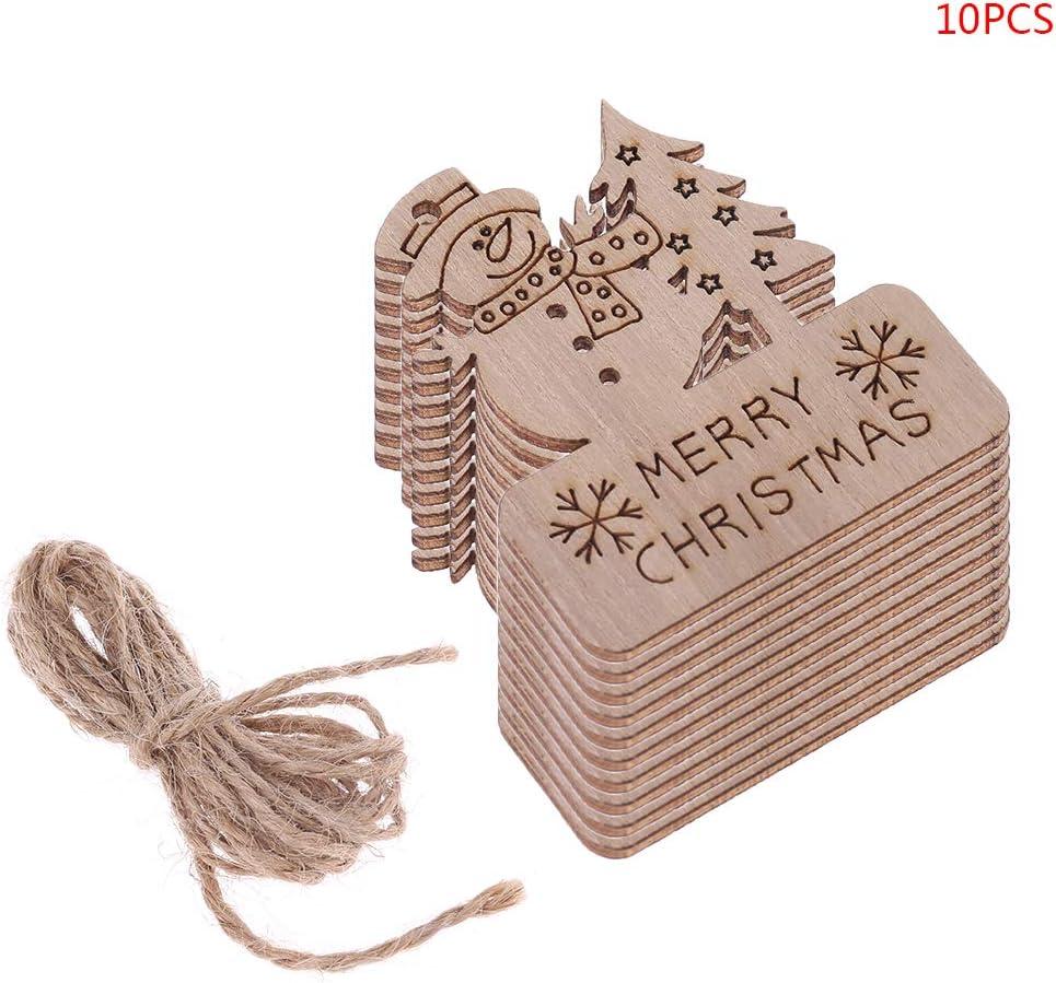 Set Joyeux No/ël Bonhomme De Neige Bricolage Pendentif en Bois Suspendu Ornement Arbre Bricolage Artisanat F/ête D/écor /à La Maison yinuneronsty 10pcs