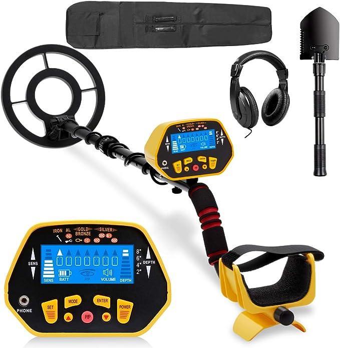 URCERI GC-1028 - Detector de metales (alta precisión, resistente al agua, 2 modos, excavador de oro con bobina de búsqueda sensible, pantalla LED para principiantes, profesionales, amarillo): Amazon.es: Jardín