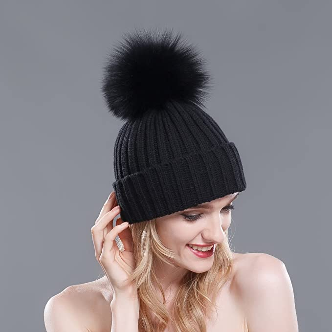 cf8ef0bb2bec9 URSFUR Thermal Winter Fur Hat Fox Raccoon Fur Ball Female Knitted Hat  Lovers Hat (Black   Black Fox Ball) at Amazon Women s Clothing store