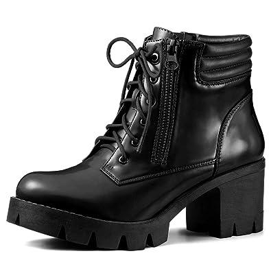 f65cda76b822 Allegra K Women s Chunky Heel Lace Up Zipper Black Combat Boots - 6 ...