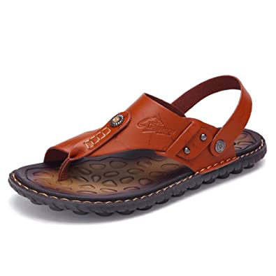 9e9709b6772 OHCHSH T-Strap Sandals Casual House Beach Summer Footbed Sandals Shoes  Leather US 6.5 Brown