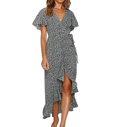 19c9625390a27 Amazon.com: Women Ruffle Split Maxi Dress - Ladies Polka Dot V Neck Wrap  Tie Short Sleeve Dresses - Elegant High Low Clothes (XL, Black): Garden &  Outdoor