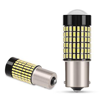 AGPTEK 2x 1156 BA15S P21W Bombillas LED 144 SMD 3014 Coche Luz de Marcha Atrás,