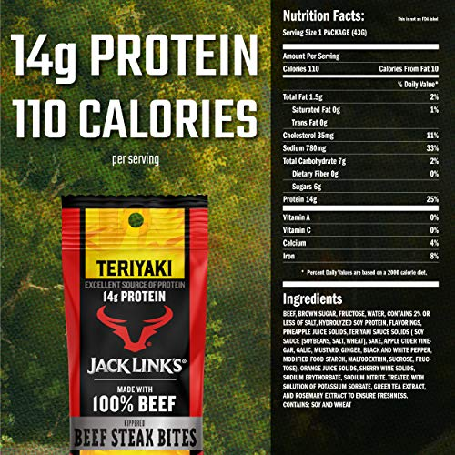 Jack Link's Beef Steak Bites, Teriyaki, 1.5 oz Bag, Pack of 8 – On-the-Go, Poppable Meat Snack, Excellent Source of Protein, Made with 100% Beef, 110 Calories and 14g of Protein Per Serving