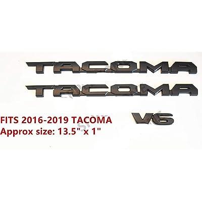 OLPAYE 3PC Fit For compatible 2016-2020 Tag MATTE Black Door Emblem Decal Badge Nameplate V6 (MATTE BLACK 3PCSFor 2016-2020): Automotive