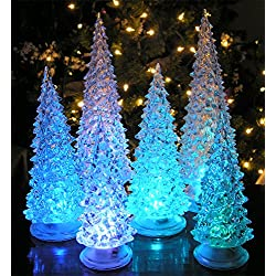 "LED Lighted Acrylic Christmas Trees Holiday Decoration Set of 6 Assorted Sizes 10"", 7.5"" & 5.5""H"