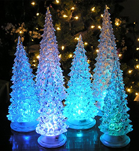 BANBERRY DESIGNS LED Lighted Acrylic Christmas Trees Holiday Decoration Set of 6 Assorted Sizes 10