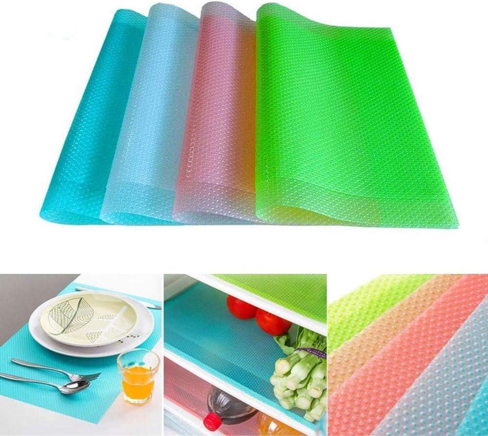 Fridge Liner Mats, 8 Pack Shelf Liners Can Be Cut Waterproof Refrigerator Mats Pad Washable Fridge Mats Liners 2 Pink/2 Green/2 Blue/2 White