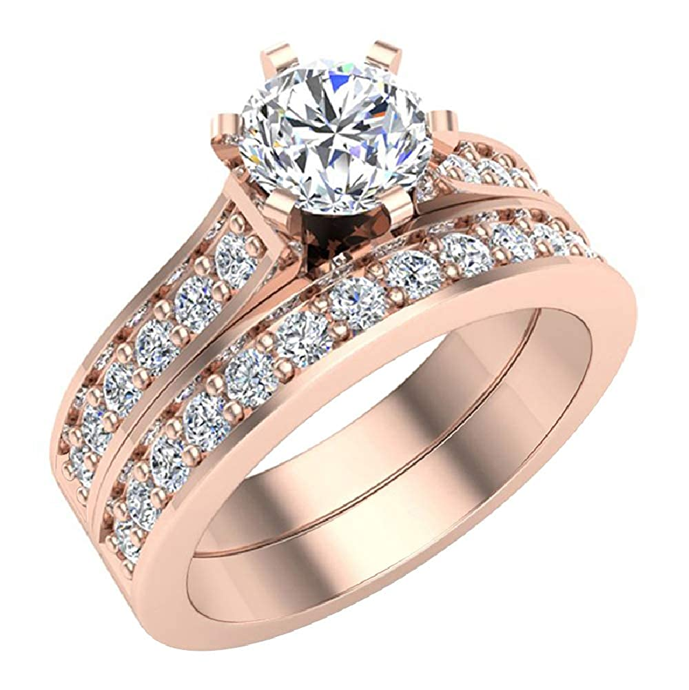 1.25 ct tw Cathedral Diamond Accented Bridal Wedding Ring Set in 14K Gold (J,I1) Popular Quality
