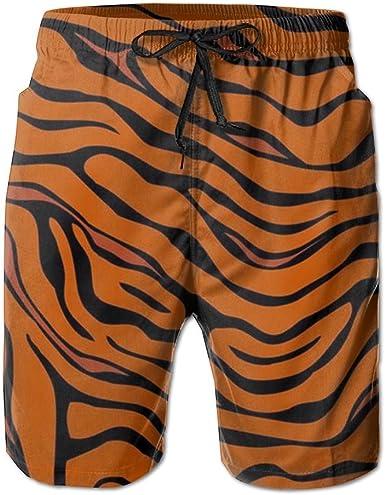 Men Swim Trunks Swim Trunk with Pockets Skull Tiger Quick Drying Surfing Beach Swimwear Beach Shorts Elastic Waistband