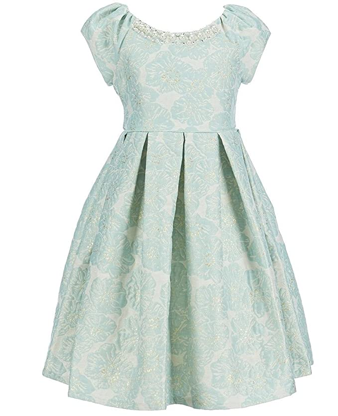 Kids 1950s Clothing & Costumes: Girls, Boys, Toddlers Bonnie Jean Easter Girls Jacquard Fall Holiday Special Occasion Dress Gold / Mint $34.00 AT vintagedancer.com