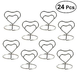 bestonzon 24piezas de acero inoxidable con forma de corazón creativo titolare la papel aro estéreo Nota Pad Tabla número TITOLARI Menu Clip (Plata)