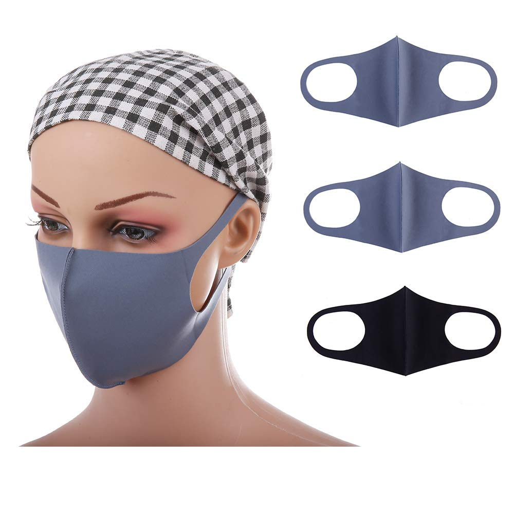 iQinQi Dust Mask Washable and Reusable Cleaning Mouth Face Masks, 3 Pcs Mouth Cover for Men and Women, Running, Cycling, Outdoor Activities (2 Grey 1 Black) Bage Trading Co. Ltd